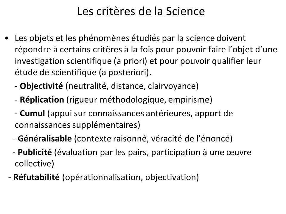 Les critères de la Science Les objets et les phénomènes étudiés par la science doivent répondre à certains critères à la fois pour pouvoir faire lobje