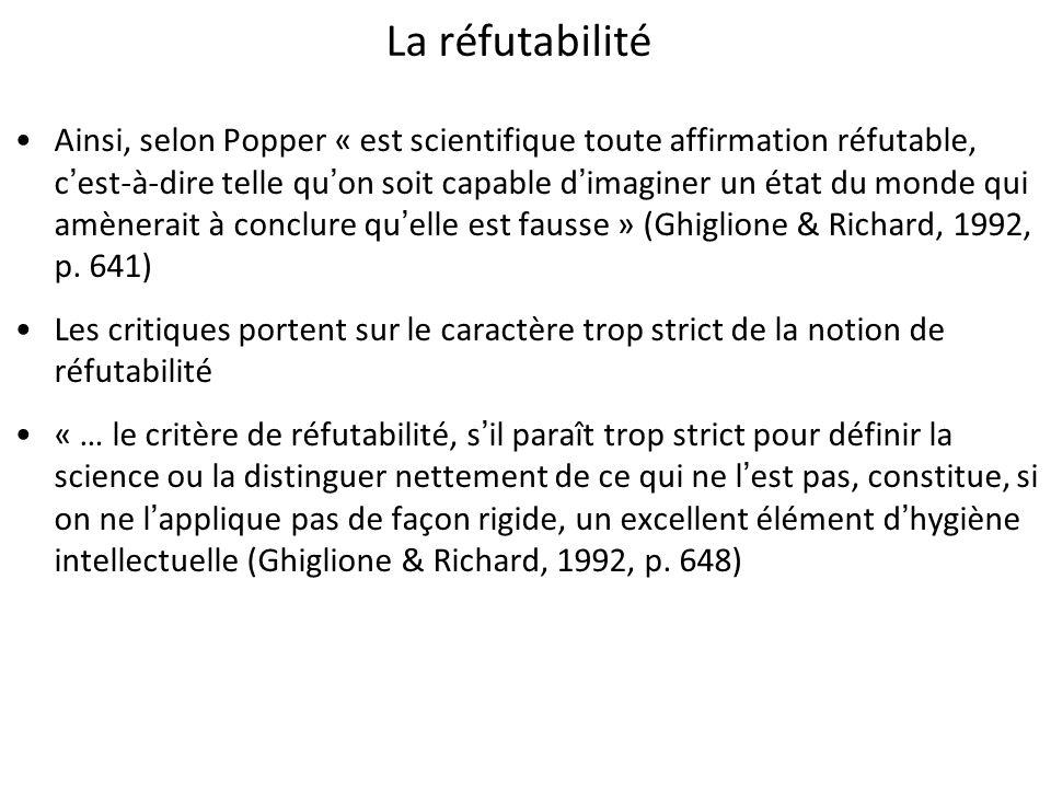 La réfutabilité Ainsi, selon Popper « est scientifique toute affirmation réfutable, cest-à-dire telle quon soit capable dimaginer un état du monde qui