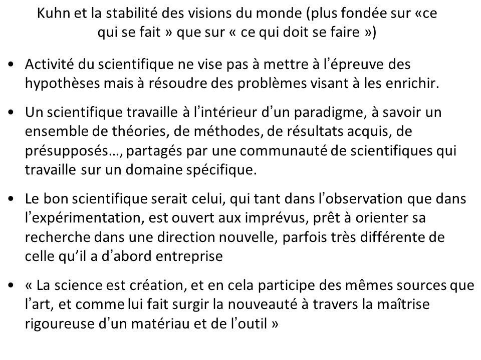 Kuhn et la stabilité des visions du monde (plus fondée sur «ce qui se fait » que sur « ce qui doit se faire ») Activité du scientifique ne vise pas à