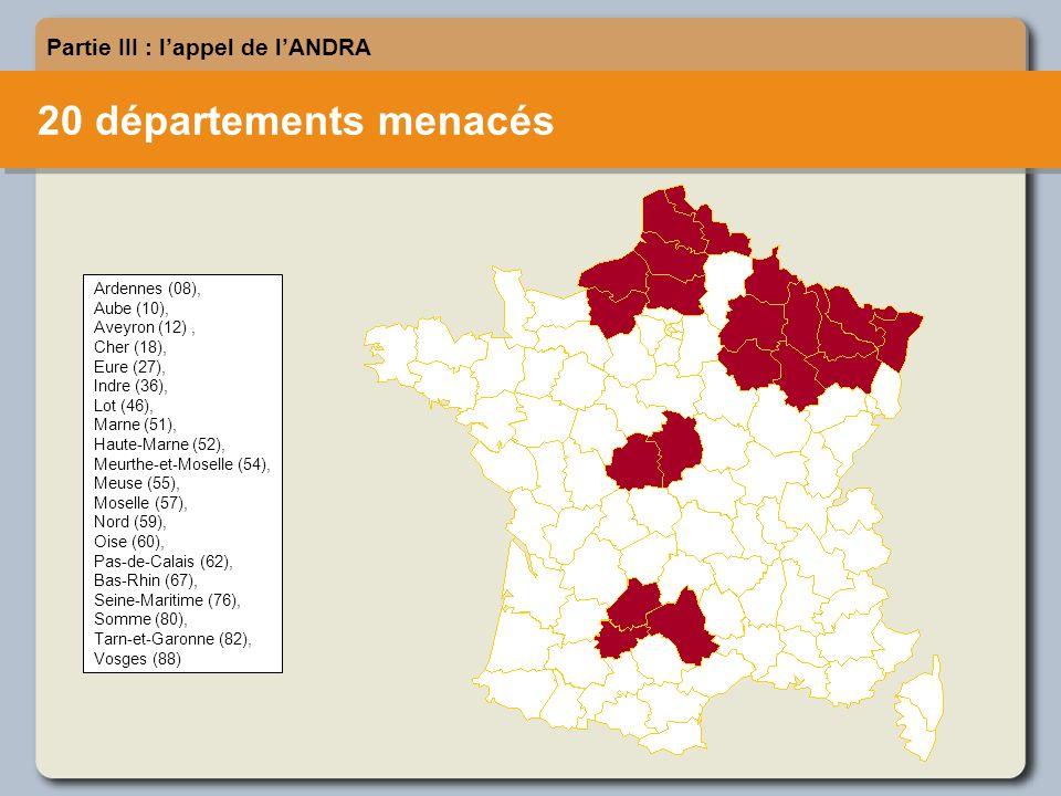 20 départements menacés Partie III : lappel de lANDRA Ardennes (08), Aube (10), Aveyron (12), Cher (18), Eure (27), Indre (36), Lot (46), Marne (51), Haute-Marne (52), Meurthe-et-Moselle (54), Meuse (55), Moselle (57), Nord (59), Oise (60), Pas-de-Calais (62), Bas-Rhin (67), Seine-Maritime (76), Somme (80), Tarn-et-Garonne (82), Vosges (88)