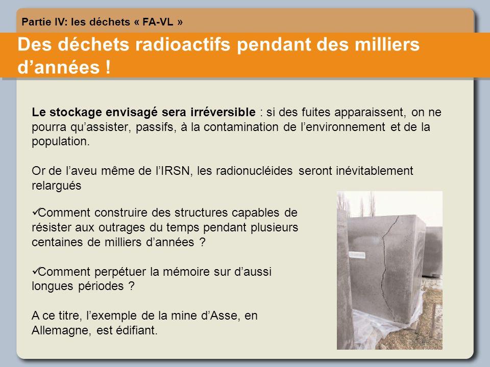 Des déchets radioactifs pendant des milliers dannées .