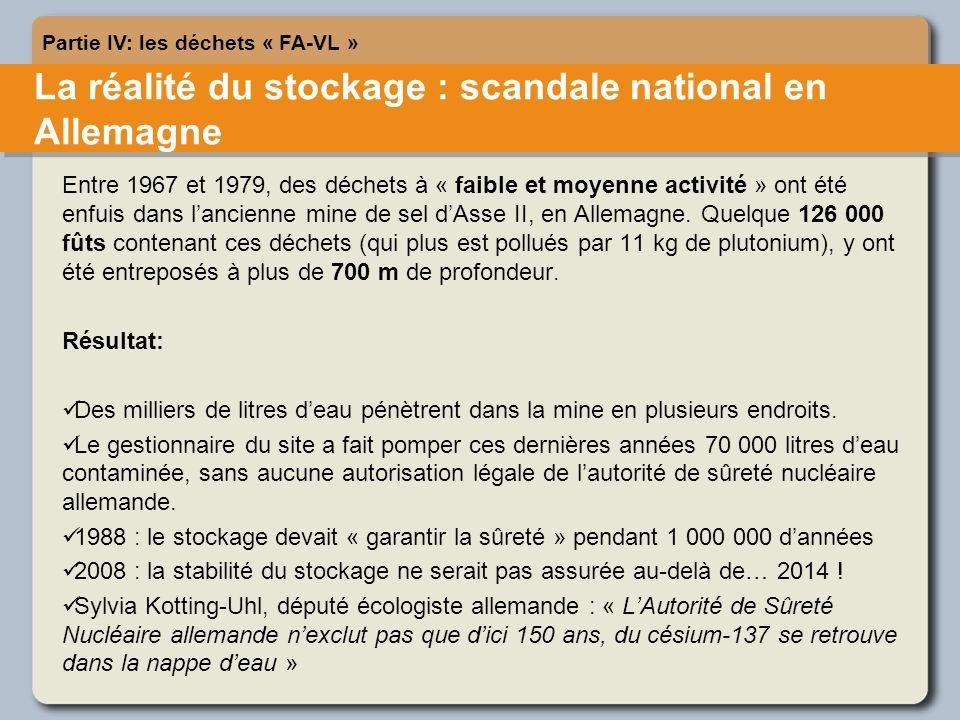 La réalité du stockage : scandale national en Allemagne Partie IV: les déchets « FA-VL » Entre 1967 et 1979, des déchets à « faible et moyenne activité » ont été enfuis dans lancienne mine de sel dAsse II, en Allemagne.