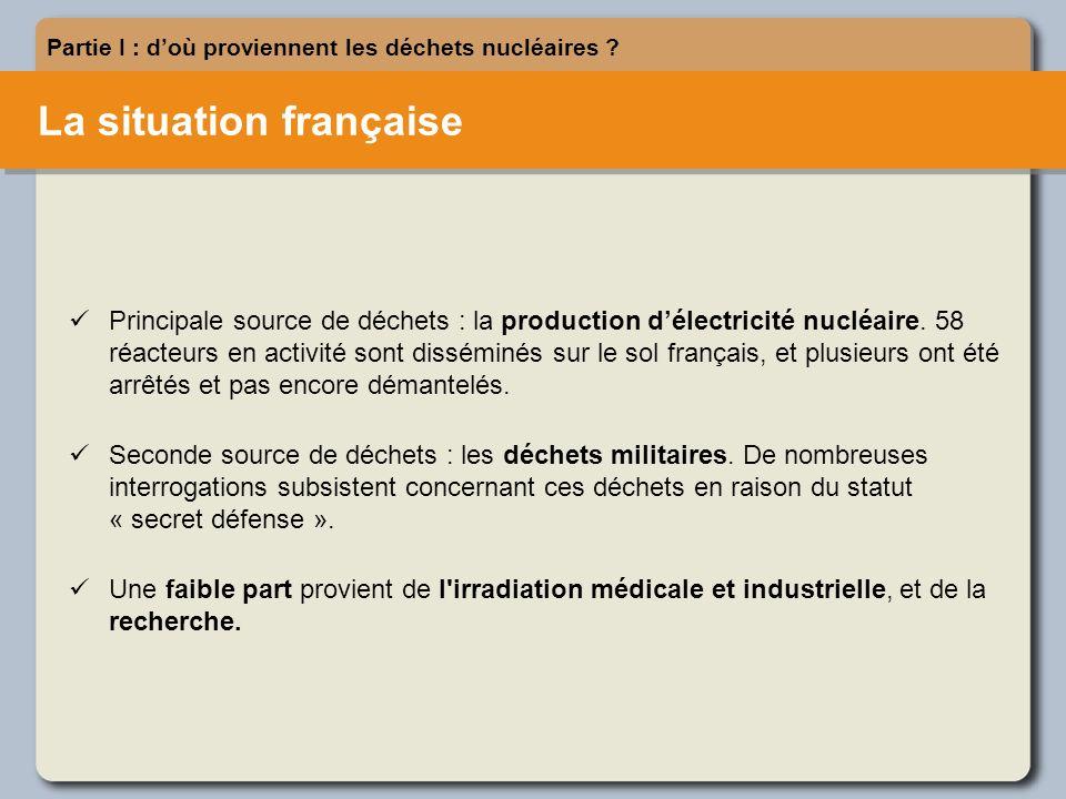 La situation française Partie I : doù proviennent les déchets nucléaires .