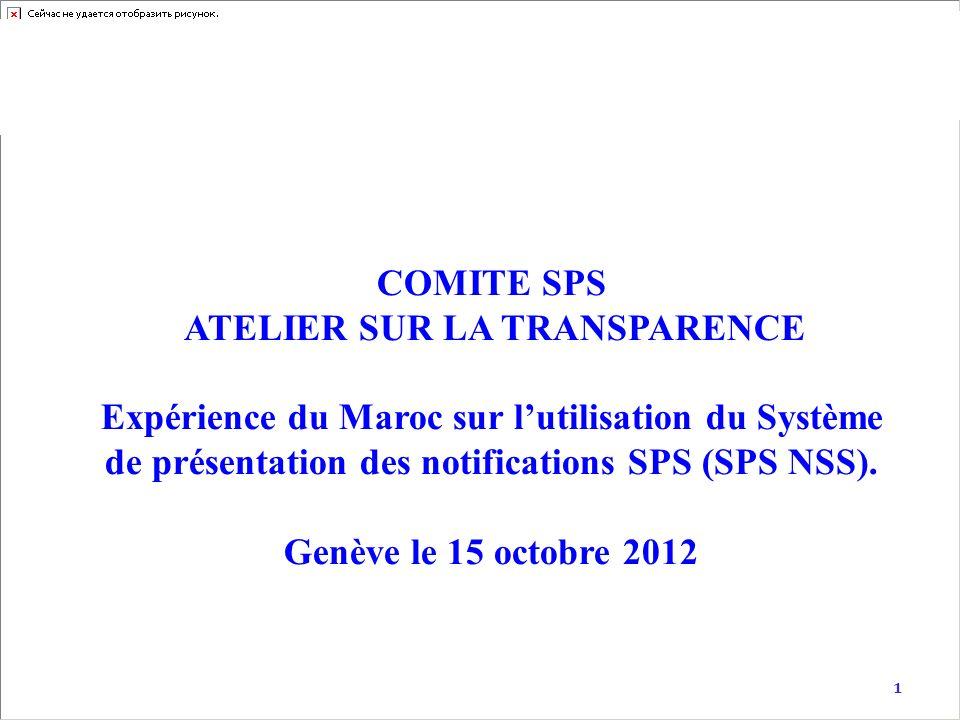 1 COMITE SPS ATELIER SUR LA TRANSPARENCE Expérience du Maroc sur lutilisation du Système de présentation des notifications SPS (SPS NSS). Genève le 15