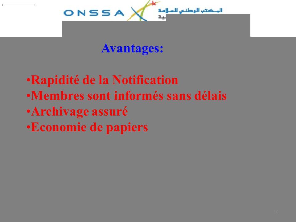 10 Avantages: Rapidité de la Notification Membres sont informés sans délais Archivage assuré Economie de papiers