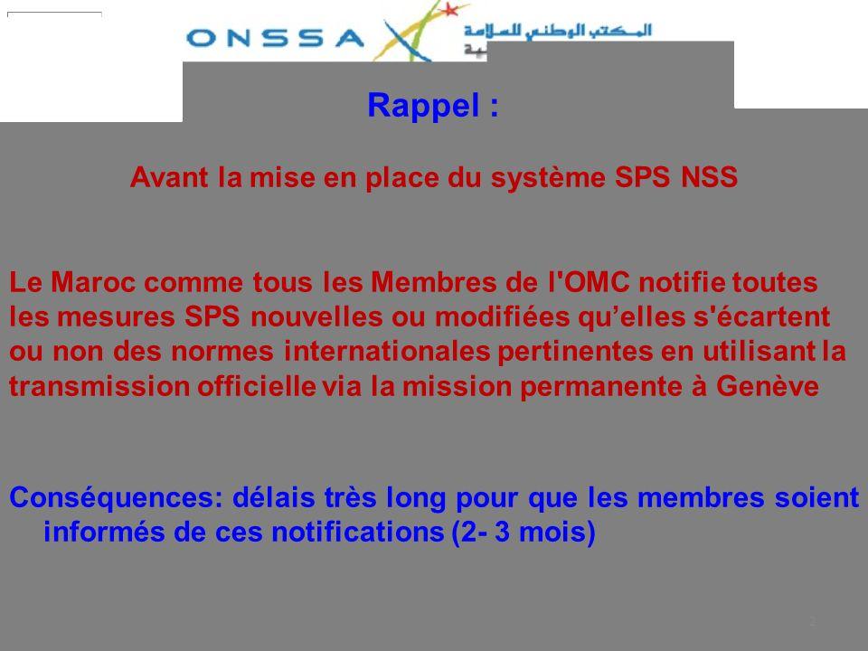 2 Rappel : Avant la mise en place du système SPS NSS Le Maroc comme tous les Membres de l'OMC notifie toutes les mesures SPS nouvelles ou modifiées qu