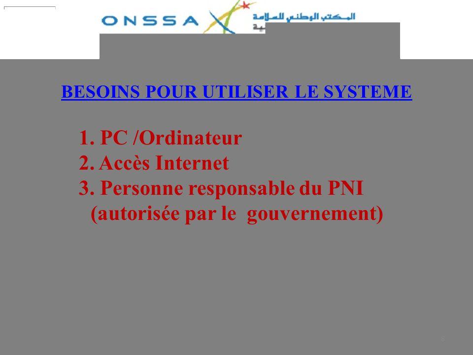 8 BESOINS POUR UTILISER LE SYSTEME 1. PC /Ordinateur 2. Accès Internet 3. Personne responsable du PNI (autorisée par le gouvernement)