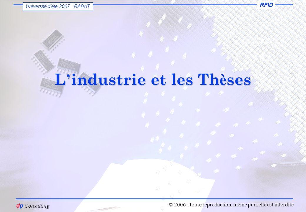vous êtes un petit voyou dutiliser ces slides sans mon autorisation Dominique PARET dp Consulting RFID Université dété 2007 - RABAT © 2006 - toute reproduction, même partielle est interdite L industrie et les Th è ses