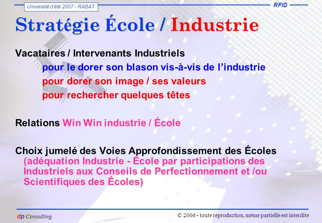 vous êtes un petit voyou dutiliser ces slides sans mon autorisation Dominique PARET dp Consulting RFID Université dété 2007 - RABAT © 2006 - toute reproduction, même partielle est interdite Consulting Formations & Services encore merci de votre attention dp-consulting@orange.fr