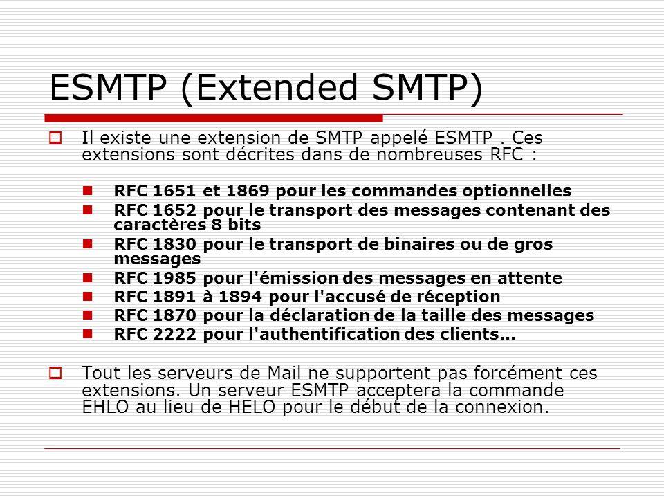 ESMTP (Extended SMTP) Il existe une extension de SMTP appelé ESMTP. Ces extensions sont décrites dans de nombreuses RFC : RFC 1651 et 1869 pour les co