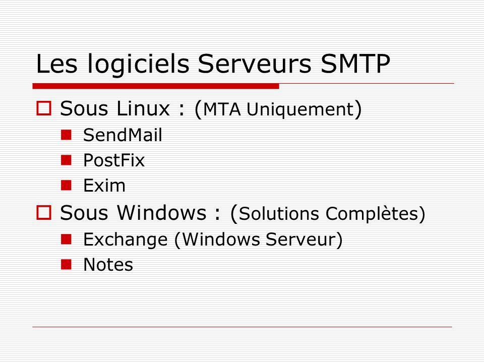Les logiciels Serveurs SMTP Sous Linux : ( MTA Uniquement ) SendMail PostFix Exim Sous Windows : ( Solutions Complètes) Exchange (Windows Serveur) Not