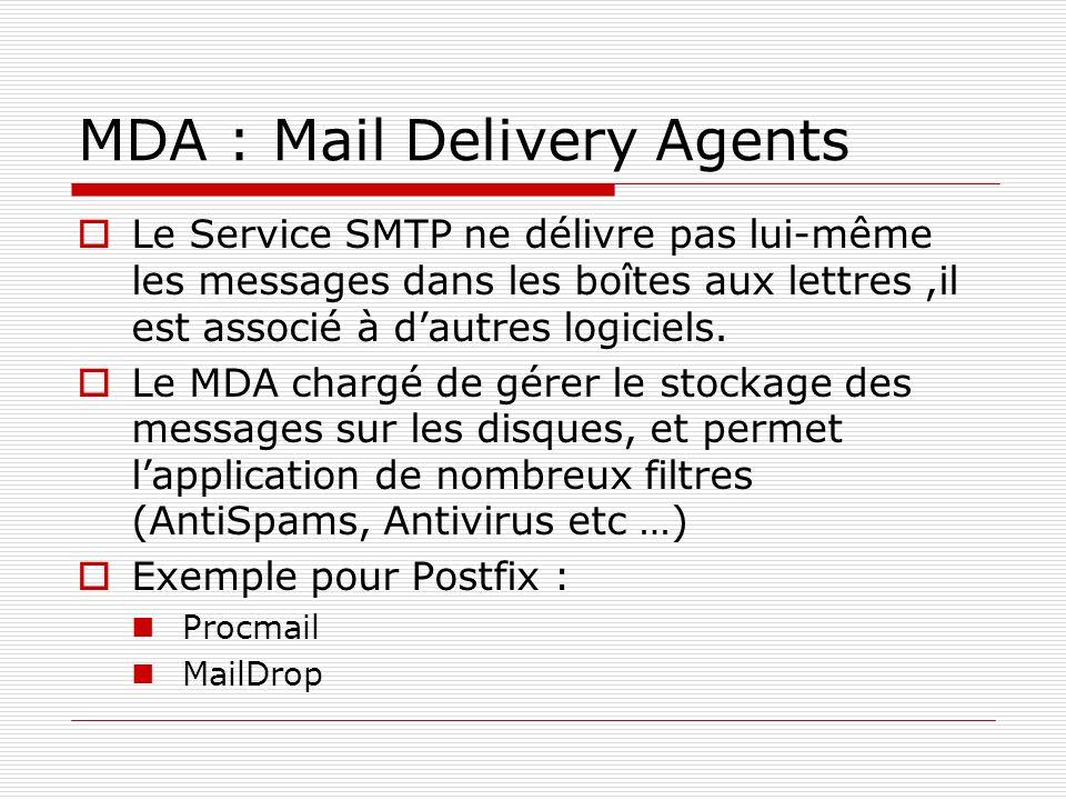 MDA : Mail Delivery Agents Le Service SMTP ne délivre pas lui-même les messages dans les boîtes aux lettres,il est associé à dautres logiciels. Le MDA