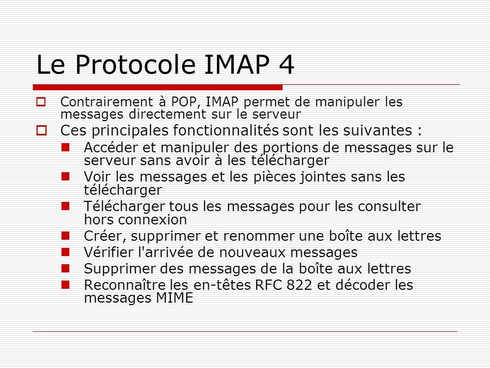 Le Protocole IMAP 4 Contrairement à POP, IMAP permet de manipuler les messages directement sur le serveur Ces principales fonctionnalités sont les sui