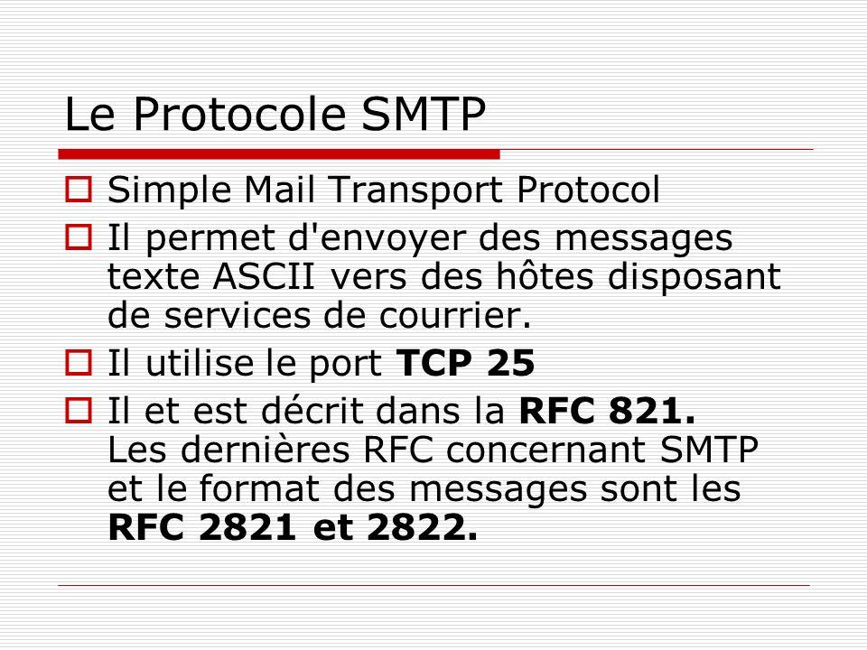 Le Protocole SMTP Simple Mail Transport Protocol Il permet d'envoyer des messages texte ASCII vers des hôtes disposant de services de courrier. Il uti