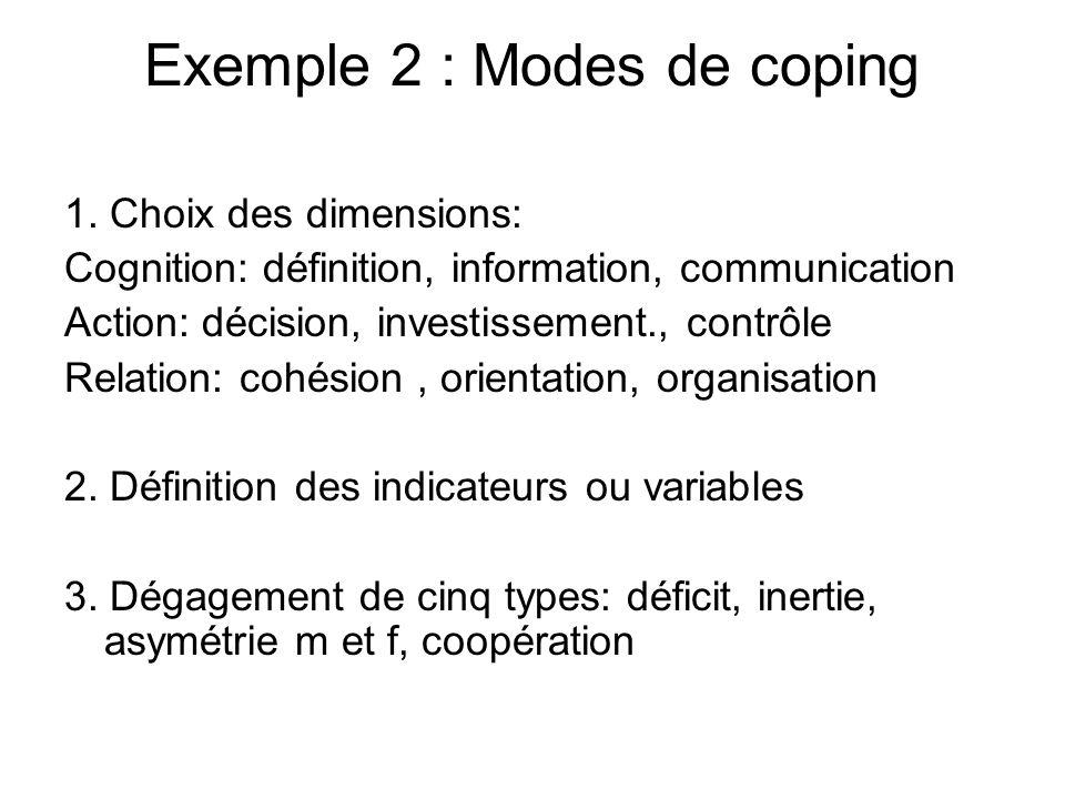 Exemple 2 : Modes de coping 1. Choix des dimensions: Cognition: définition, information, communication Action: décision, investissement., contrôle Rel