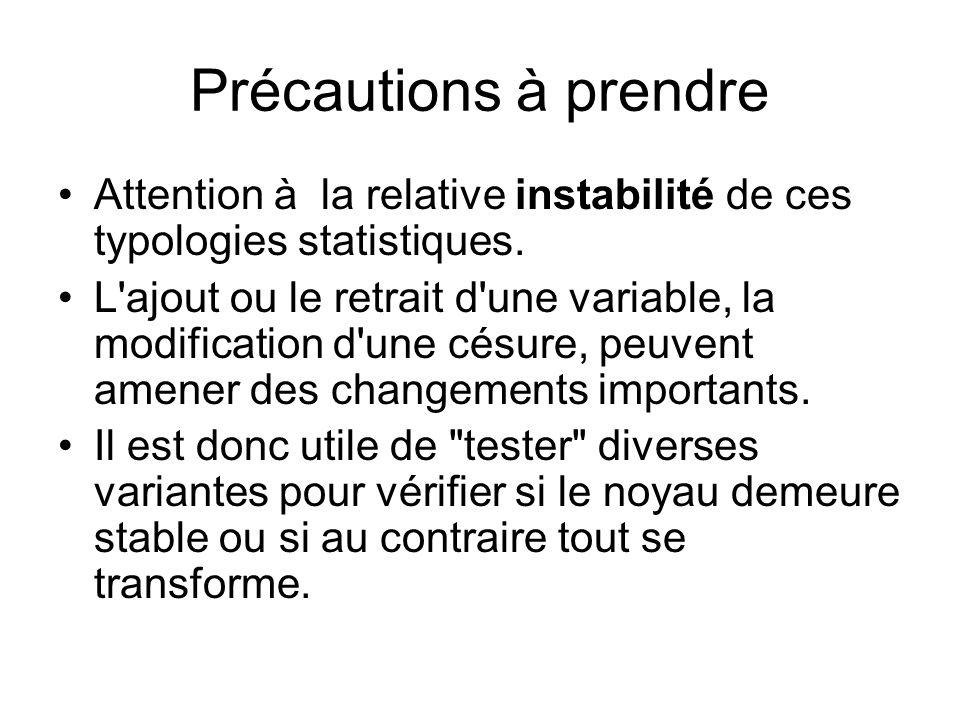 Précautions à prendre Attention à la relative instabilité de ces typologies statistiques. L'ajout ou le retrait d'une variable, la modification d'une