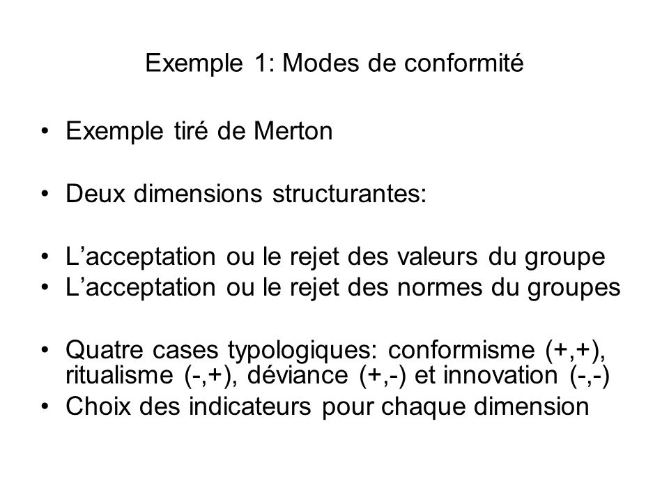 Exemple 1: Modes de conformité Exemple tiré de Merton Deux dimensions structurantes: Lacceptation ou le rejet des valeurs du groupe Lacceptation ou le