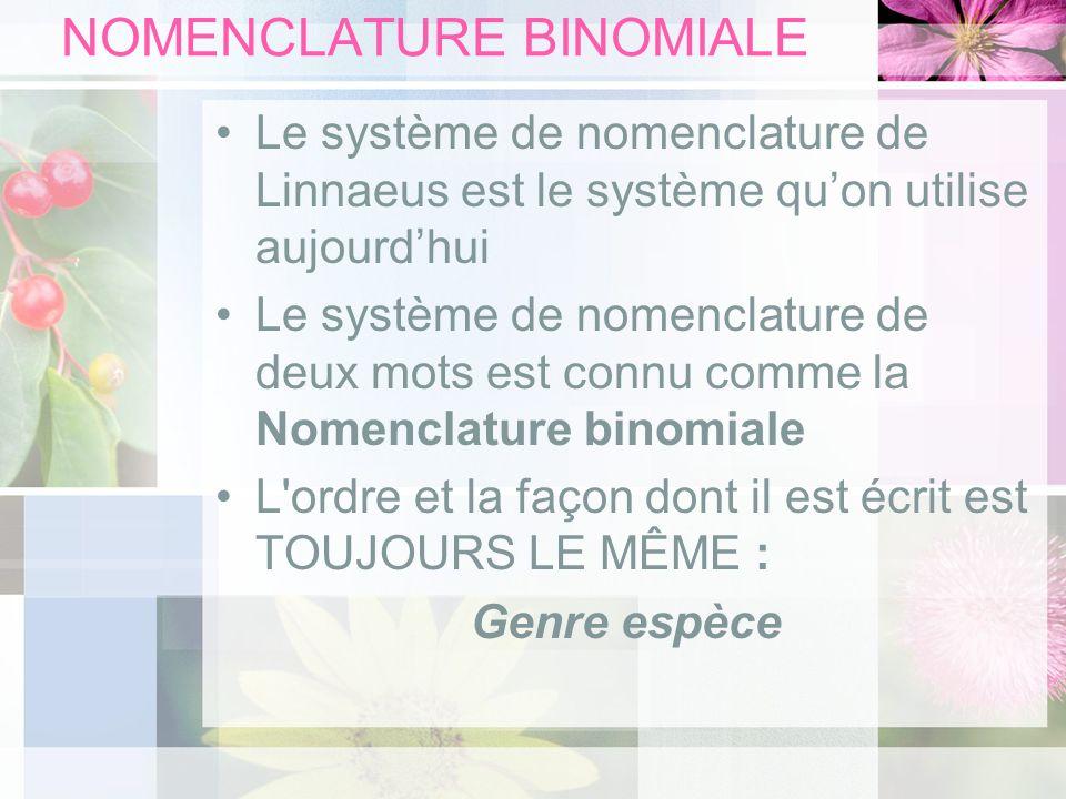NOMENCLATURE BINOMIALE Le système de nomenclature de Linnaeus est le système quon utilise aujourdhui Le système de nomenclature de deux mots est connu