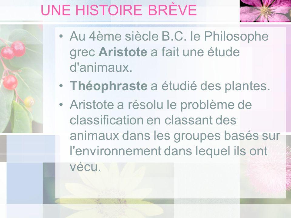 UNE HISTOIRE BRÈVE Au 4ème siècle B.C. le Philosophe grec Aristote a fait une étude d'animaux. Théophraste a étudié des plantes. Aristote a résolu le