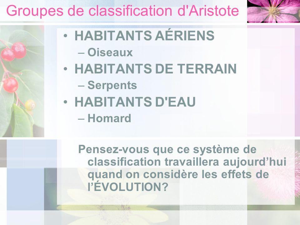 Groupes de classification d'Aristote HABITANTS AÉRIENS –Oiseaux HABITANTS DE TERRAIN –Serpents HABITANTS D'EAU –Homard Pensez-vous que ce système de c