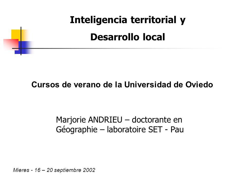 Inteligencia territorial y Desarrollo local Mieres - 16 – 20 septiembre 2002 Marjorie ANDRIEU – doctorante en Géographie – laboratoire SET - Pau Cursos de verano de la Universidad de Oviedo