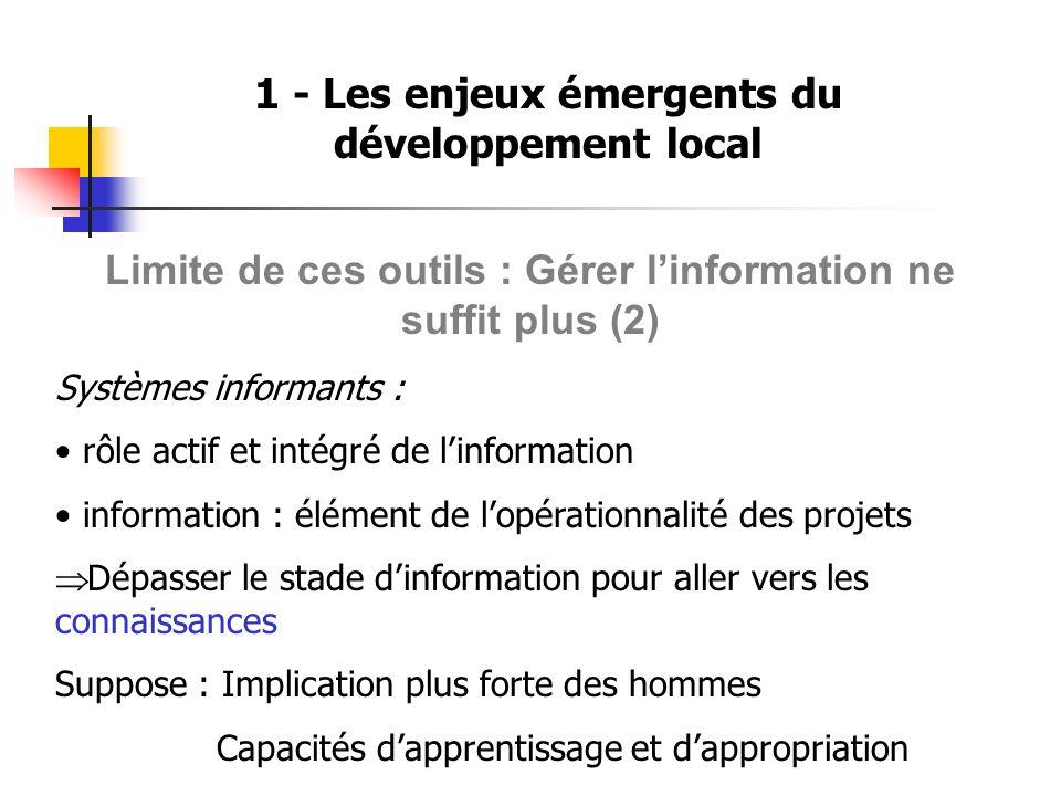 1 - Les enjeux émergents du développement local Limite de ces outils : Gérer linformation ne suffit plus (2) Systèmes informants : rôle actif et intég