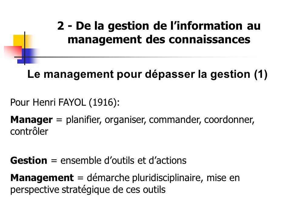 2 - De la gestion de linformation au management des connaissances Le management pour dépasser la gestion (1) Pour Henri FAYOL (1916): Manager = planif
