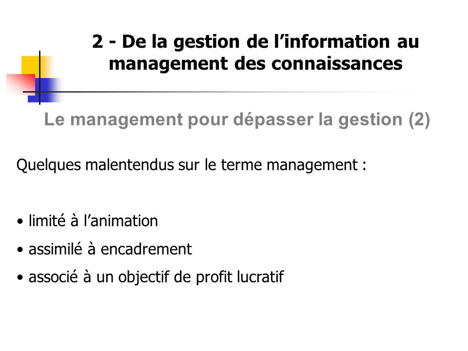 2 - De la gestion de linformation au management des connaissances Le management pour dépasser la gestion (2) Quelques malentendus sur le terme managem
