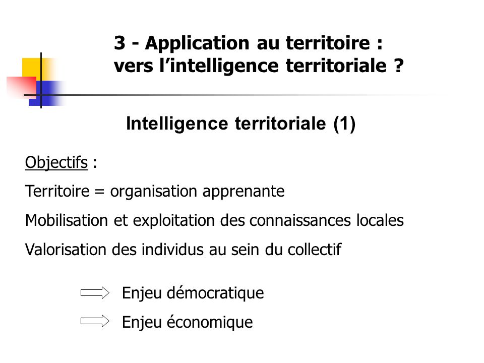 3 - Application au territoire : vers lintelligence territoriale .