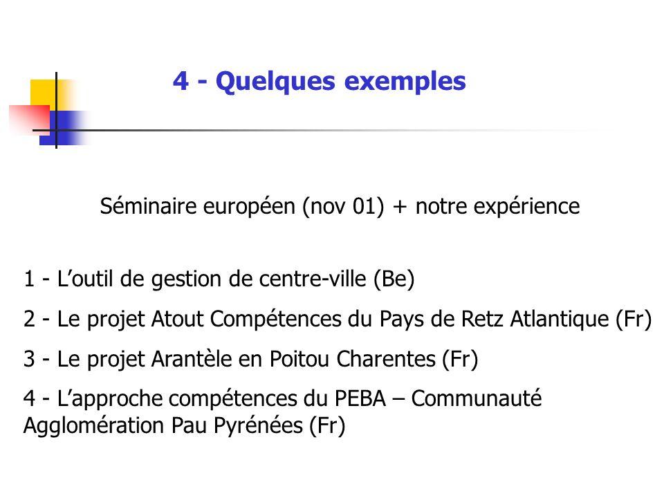 4 - Quelques exemples Séminaire européen (nov 01) + notre expérience 1 - Loutil de gestion de centre-ville (Be) 2 - Le projet Atout Compétences du Pay