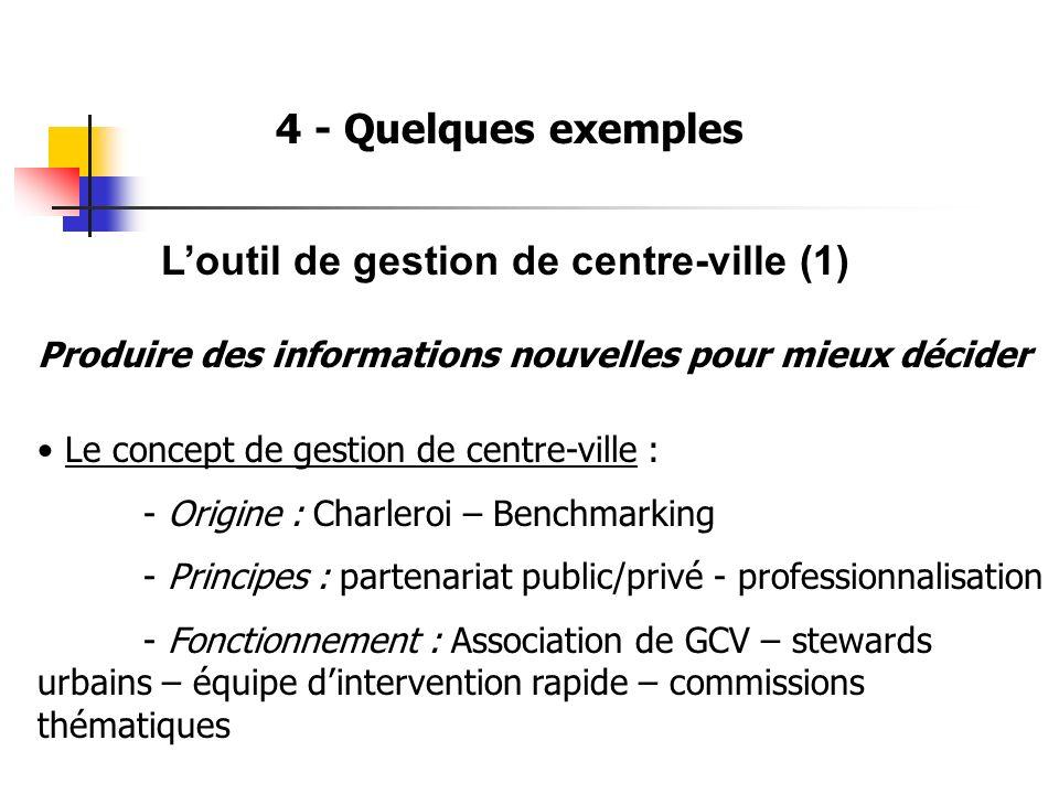 4 - Quelques exemples Loutil de gestion de centre-ville (1) Produire des informations nouvelles pour mieux décider Le concept de gestion de centre-vil