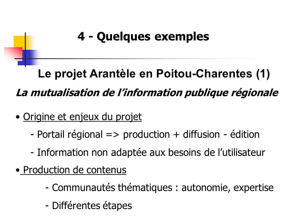 4 - Quelques exemples Le projet Arantèle en Poitou-Charentes (1) La mutualisation de linformation publique régionale Origine et enjeux du projet - Portail régional => production + diffusion - édition - Information non adaptée aux besoins de lutilisateur Production de contenus - Communautés thématiques : autonomie, expertise - Différentes étapes