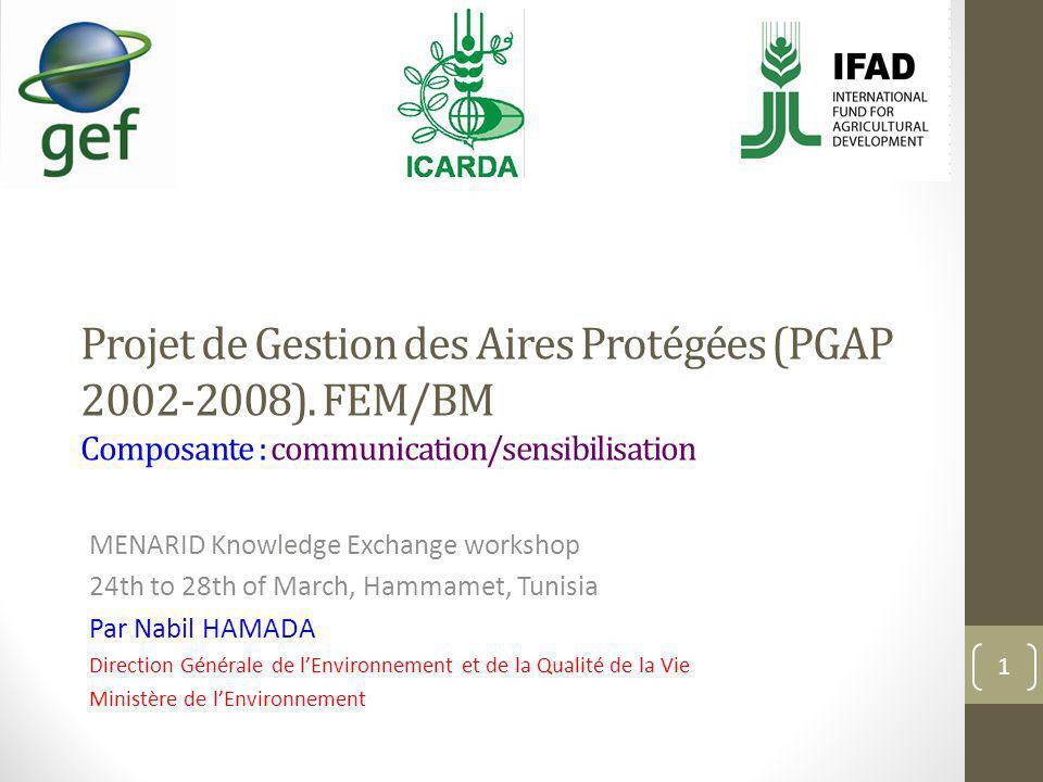 Projet de Gestion des Aires Protégées (PGAP 2002-2008). FEM/BM Composante : communication/sensibilisation MENARID Knowledge Exchange workshop 24th to