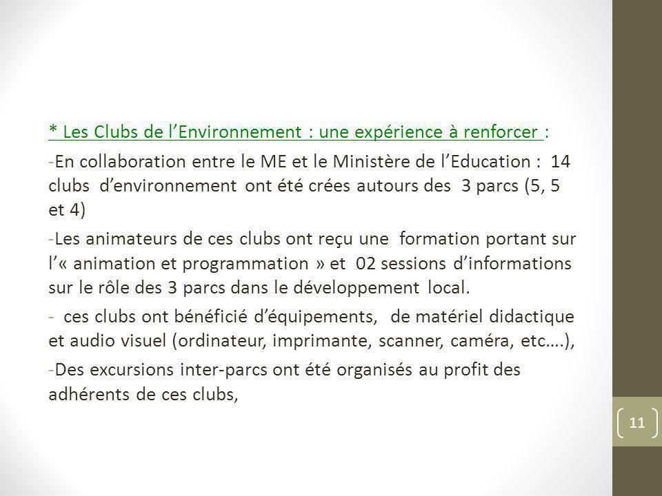 * Les Clubs de lEnvironnement : une expérience à renforcer : -En collaboration entre le ME et le Ministère de lEducation : 14 clubs denvironnement ont
