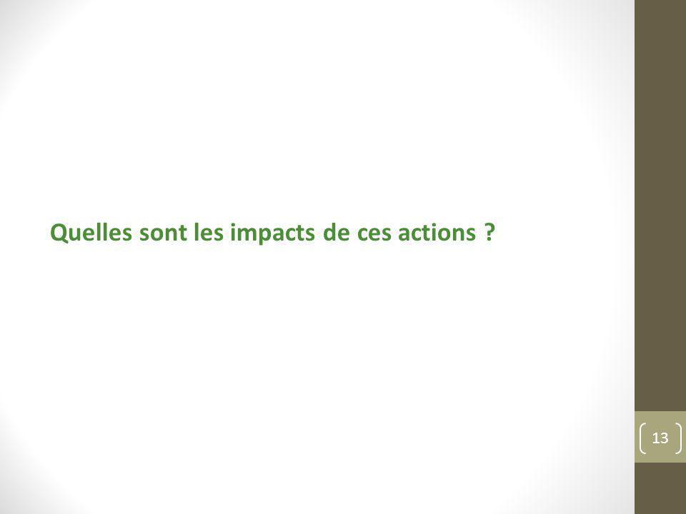 Quelles sont les impacts de ces actions ? 13
