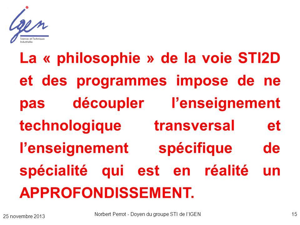 Norbert Perrot - Doyen du groupe STI de lIGEN15 La « philosophie » de la voie STI2D et des programmes impose de ne pas découpler lenseignement technol