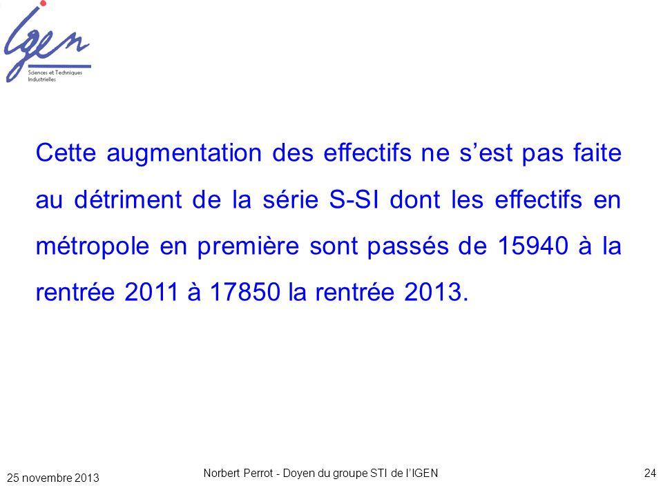 25 novembre 2013 Norbert Perrot - Doyen du groupe STI de lIGEN24 Cette augmentation des effectifs ne sest pas faite au détriment de la série S-SI dont