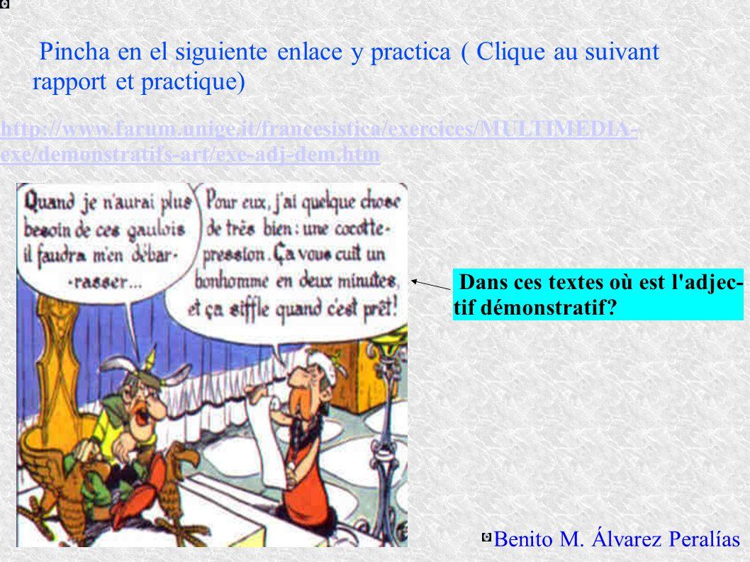 http://www.farum.unige.it/francesistica/exercices/MULTIMEDIA- exe/demonstratifs-art/exe-adj-dem.htm Pincha en el siguiente enlace y practica ( Clique au suivant rapport et practique) Benito M.