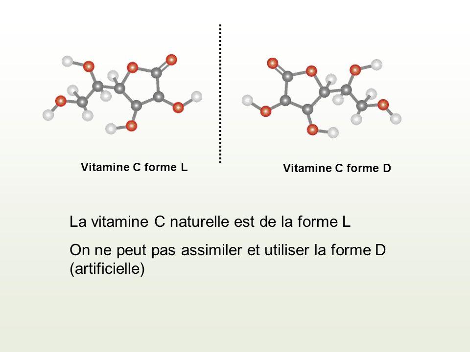 La vitamine C naturelle est de la forme L On ne peut pas assimiler et utiliser la forme D (artificielle) Vitamine C forme D Vitamine C forme L