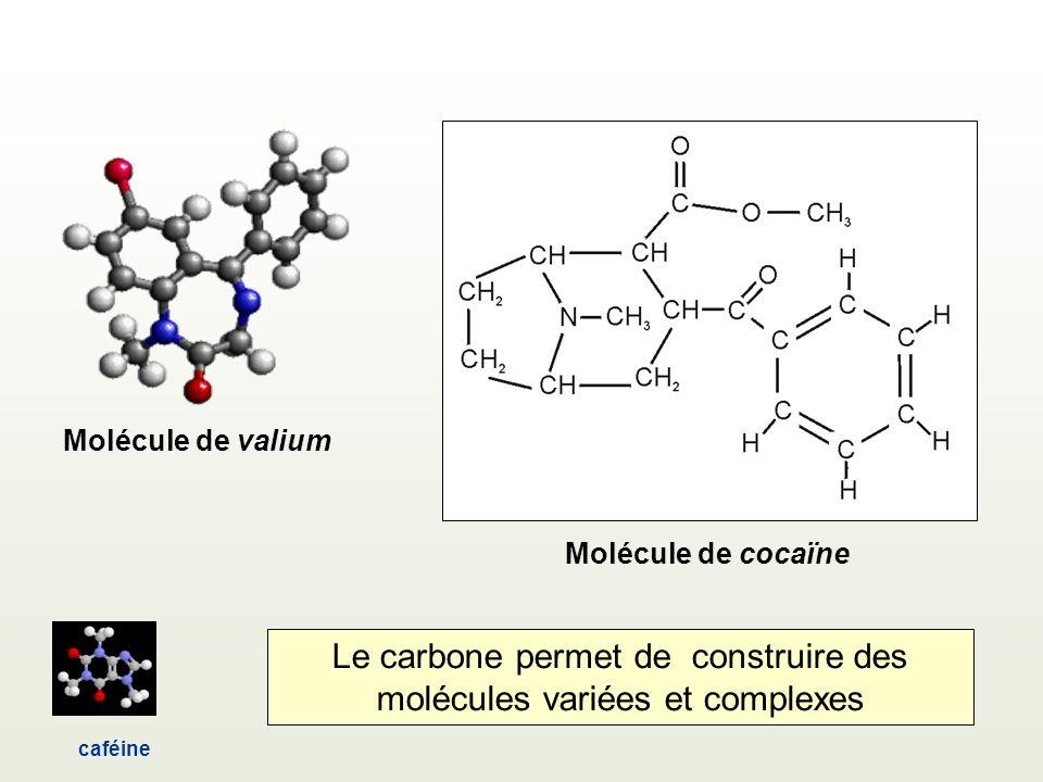 caféine Molécule de valium Molécule de cocaïne Le carbone permet de construire des molécules variées et complexes
