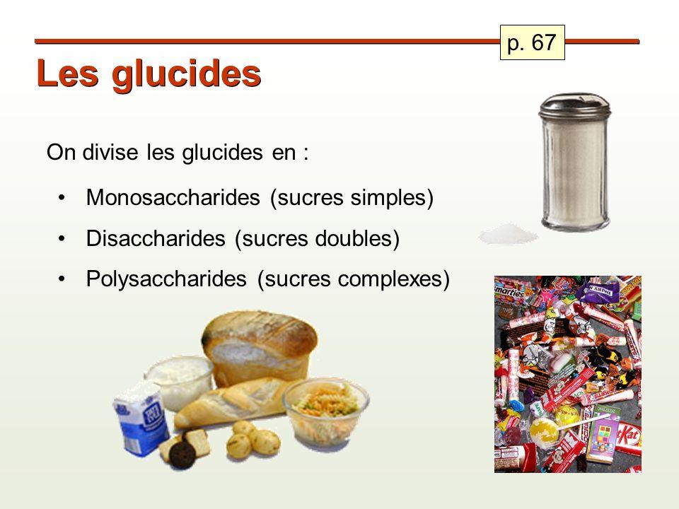 Les glucides On divise les glucides en : Monosaccharides (sucres simples) Disaccharides (sucres doubles) Polysaccharides (sucres complexes) p. 67