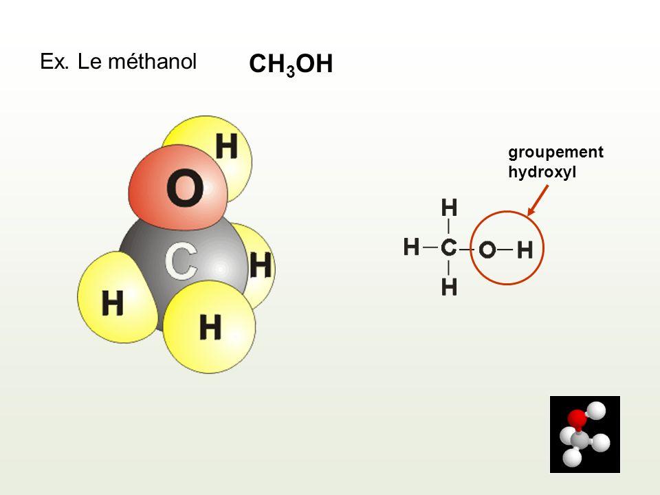 Ex. Le méthanol CH 3 OH groupement hydroxyl