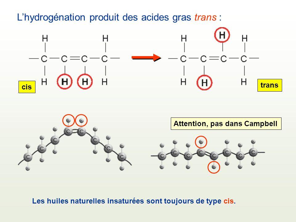 Lhydrogénation produit des acides gras trans : Les huiles naturelles insaturées sont toujours de type cis. cis trans Attention, pas dans Campbell