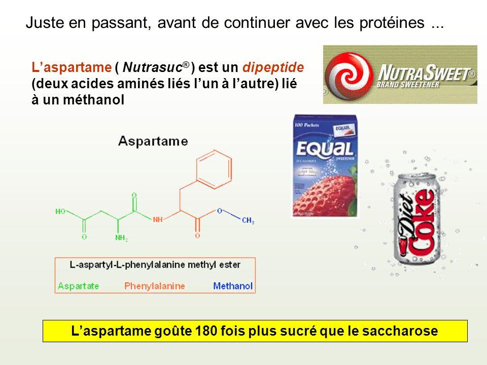 Laspartame ( Nutrasuc ® ) est un dipeptide (deux acides aminés liés lun à lautre) lié à un méthanol Laspartame goûte 180 fois plus sucré que le saccharose Juste en passant, avant de continuer avec les protéines...