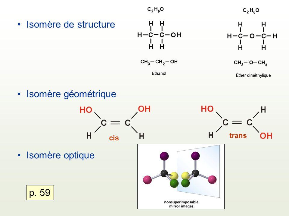 Isomère de structure Isomère géométrique Isomère optique cis trans p. 59