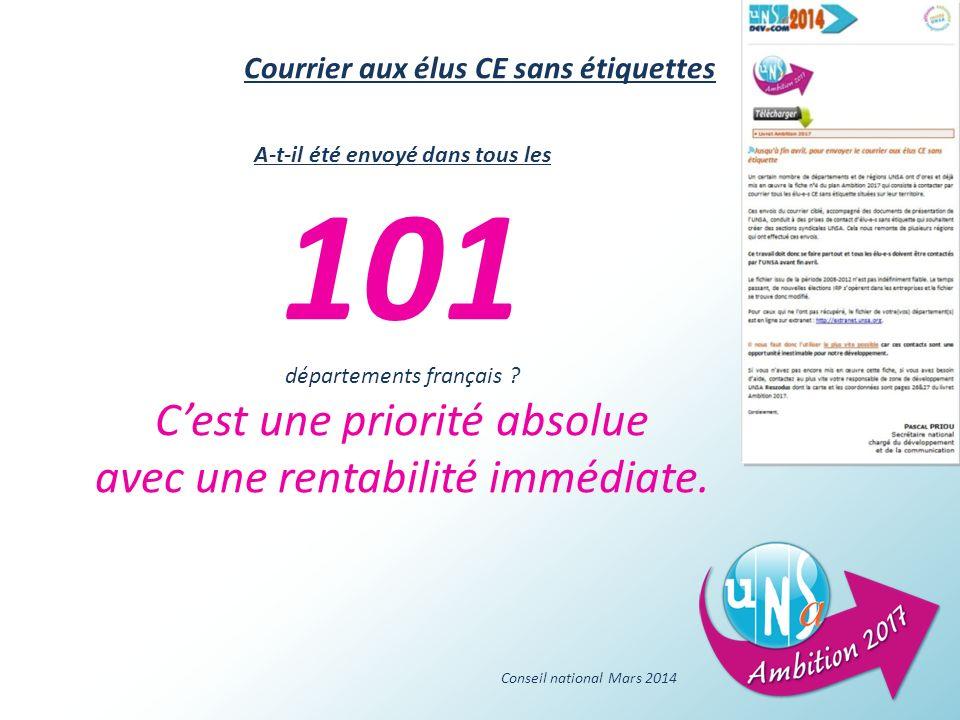 Conseil national Mars 2014 A-t-il été envoyé dans tous les 101 départements français .