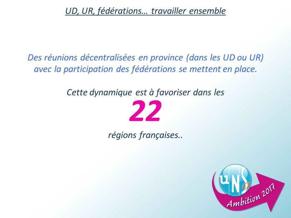 UD, UR, fédérations… travailler ensemble Des réunions décentralisées en province (dans les UD ou UR) avec la participation des fédérations se mettent en place.