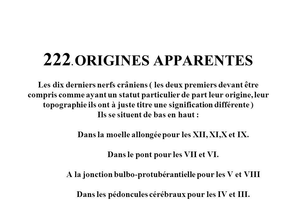 222. ORIGINES APPARENTES Les dix derniers nerfs crâniens ( les deux premiers devant être compris comme ayant un statut particulier de part leur origin