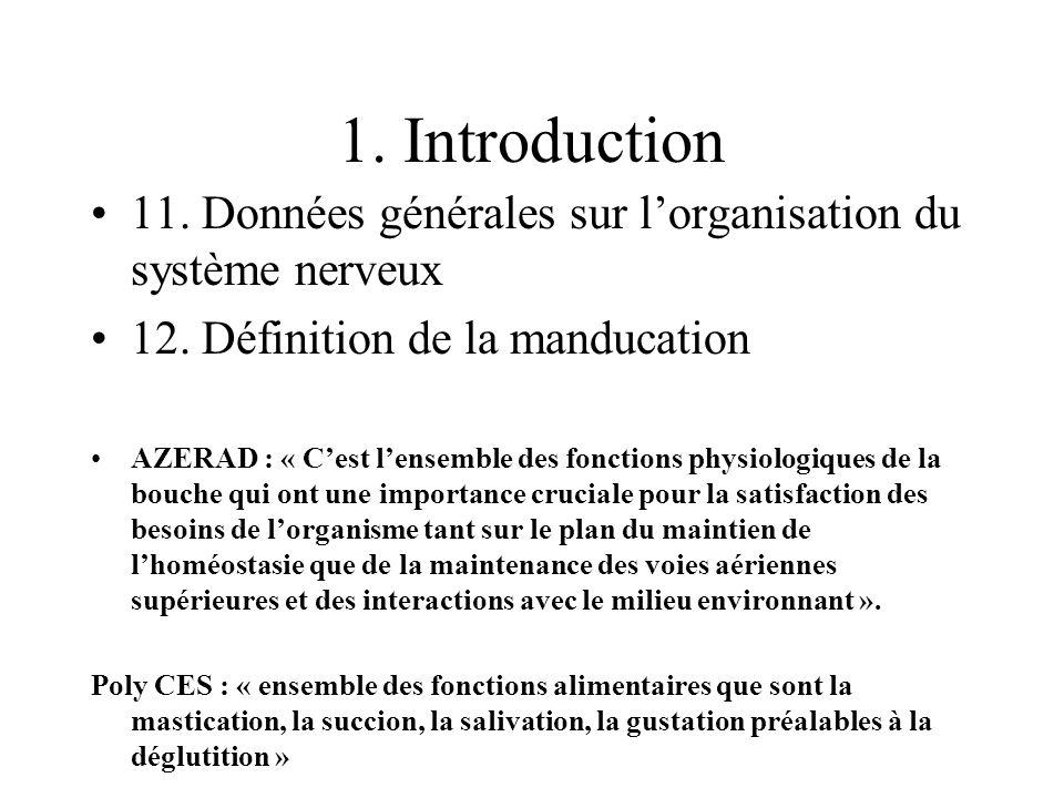 1. Introduction 11. Données générales sur lorganisation du système nerveux 12. Définition de la manducation AZERAD : « Cest lensemble des fonctions ph
