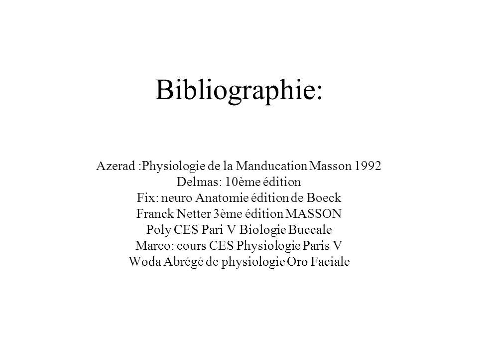 Bibliographie: Azerad :Physiologie de la Manducation Masson 1992 Delmas: 10ème édition Fix: neuro Anatomie édition de Boeck Franck Netter 3ème édition